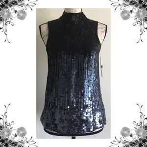 {French Connection} Starlight Gunmetal Sequin Top